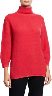 Max Mara Wool-Cashmere Mock-Neck Pique Sweater