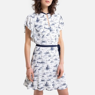 Benetton Coastal Print Mini Shift Dress with Short Ruffled Sleeves and Tie-Waist