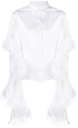 Y/Project Oversized Lace-Trim Sleeve Shirt