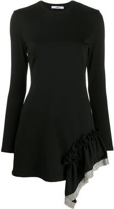 Area embellished ruffle trim dress