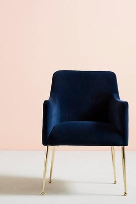 Anthropologie Velvet Elowen Armchair By in Blue Size ALL
