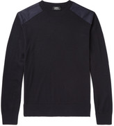 A.p.c. - Johnny Canvas-trimmed Merino Wool Sweater