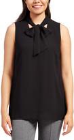 Minna Women's Blouses black - Black Tie-Neck Sleeveless Top - Women & Plus