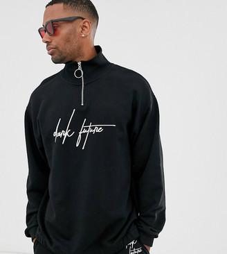 Asos DESIGN x Dark Future Tall oversized funnel neck sweatshirt with chest logo print