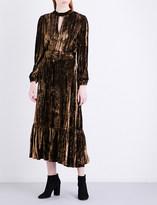 Co Metallic crinkled-velvet midi dress