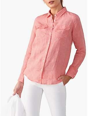 Pure Collection Linen Cotton Blend Utility Shirt, Flame Coral