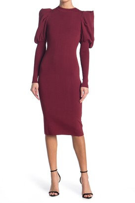 Jealous Tomato Puff Sleeve Sweater Midi Dress