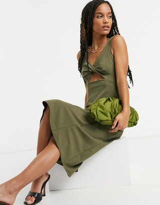 ASOS DESIGN twist & cut out detail midi pencil dress with flare hem in khaki