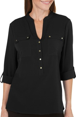 Sag Harbor Women's Long Sleeve Equipment Shirt with Chest Pockets