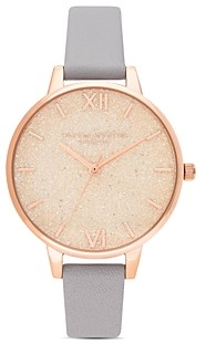 Olivia Burton Glitter Dial Gray Lilac Leather Strap Watch, 34mm