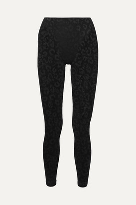 Adam Selman Leopard-print Stretch-mesh Leggings - Black