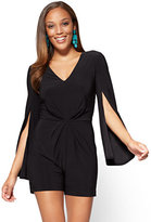 New York & Co. V-Neck Open-Sleeve Romper - Black