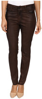 NYDJ Petite Petite Alina Leggings Jeans in Faux Leather Coating in Mahogany/Brown Leather Coating