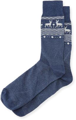 Neiman Marcus Reindeer-Print Cotton Socks