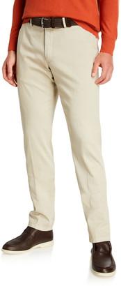 Loro Piana Men's Slim Straight-Leg Stretch-Cotton Pants