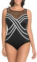 Longitude Two-Tone Mesh One-Piece Swimsuit