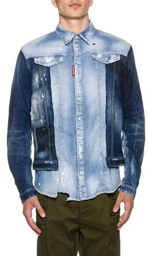 DSQUARED2 Men's Mixed-Wash Denim Shirt w/ Jean Jacket Combo