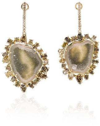 Kimberly 18kt Gold Geode And Diamond Drop Earrings