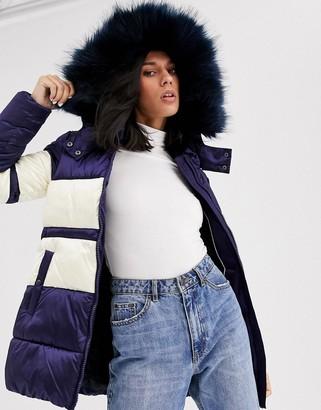 Gianni Feraud colourblock padded jacket with faux fur hood-Navy