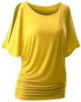 QIAONIER Womens Short Sleeve Crewneck Cut Out Off Shoulder Casual Blouse Top (XL, )