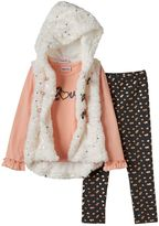 Little Lass Girls 4-6x Faux-Fur Vest, Tee & Foiled Heart Leggings Set