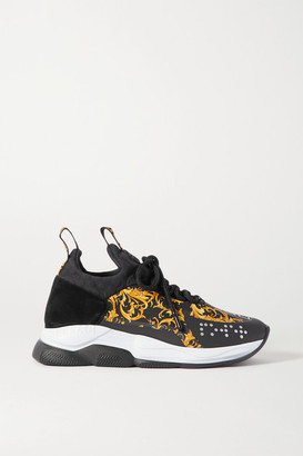 Versace Chain Reaction Printed Nylon, Suede And Neoprene Sneakers - Black