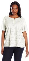 Alfred Dunner Women's Plus Size Lace Knit Top