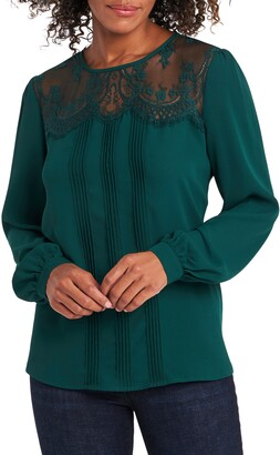 Vince Camuto Lace Yoke Pintuck Long Sleeve Blouse