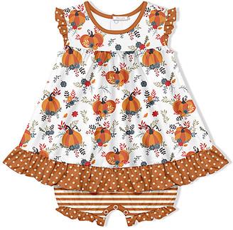 Little Millie Girls' Rompers Pumpkin - White & Orange Dot Pumpkin Skirted Bubble Bodysuit - Infant & Toddler