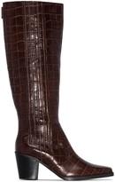 Ganni 70mm crocodile-effect knee-high boots