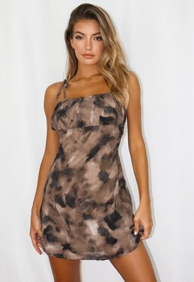 Missguided Brown Tie Dye Strappy Ruched Bust Dress