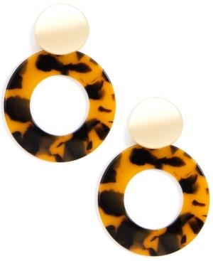 Zenzii Gold-Tone Tortoise-Look Open Circle Drop Earrings