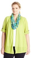 Notations Women's Plus-Size 3/4 Sleeve Knit Inset and Lace Scarf 3Fer