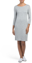 Three Quarter Sleeve Crew Neck Dress