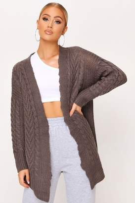 I SAW IT FIRST Grey Long Cable Knit Cardigan