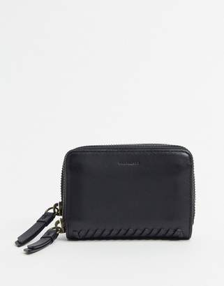 AllSaints courtney leather card holder purse-Black