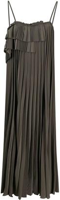 P.A.R.O.S.H. tiered-ruffle pleated midi dress