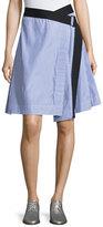 Rag & Bone Lenna Striped Poplin Belted Wrap Skirt, Blue/White