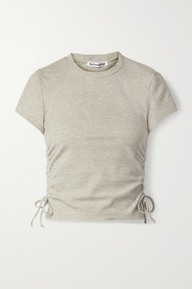 Reformation Net Sustain Lychee Ruched Ribbed Stretch-tencel Lyocell Top - Beige