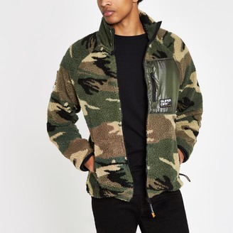 Superdry Mens River Island Green camo zip up fleece jacket