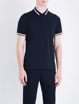 Sandro Contrast-trim cotton-piqué polo shirt