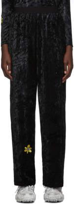Perks And Mini Black Velvet Flower Embroidery Lounge Pants