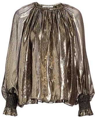 Derek Lam 10 Crosby Helena Lame Silk-Metallic Puff-Sleeve Blouse