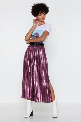 Nasty Gal Womens The Pleat Is On Metallic Skirt - Pink - 6, Pink