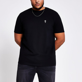 River Island Black embroidered slim fit T-shirt