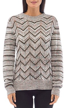 Bobeau B Collection By B Collection by Crewneck Chevron Sweater