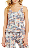Jasmine & Ginger Feather-Print Strappy-Back Sleep Tank