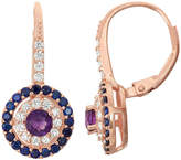 Fine Jewelry Genuine Amethyst & Lab-Created Sapphire 14K Rose Gold Over Silver Leverback Earrings