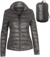 Hot From Hollywood Women's Zip Front Outdoor Packable Lightweight Puffer Down Jacket