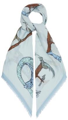 Loewe Frayed-edge Animal-print Twill Scarf - Light Blue